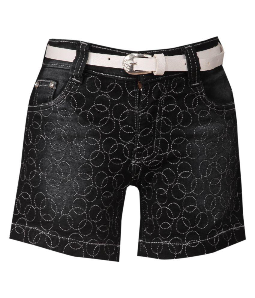 FCK-3 Black Cotton Blend Short for Girls