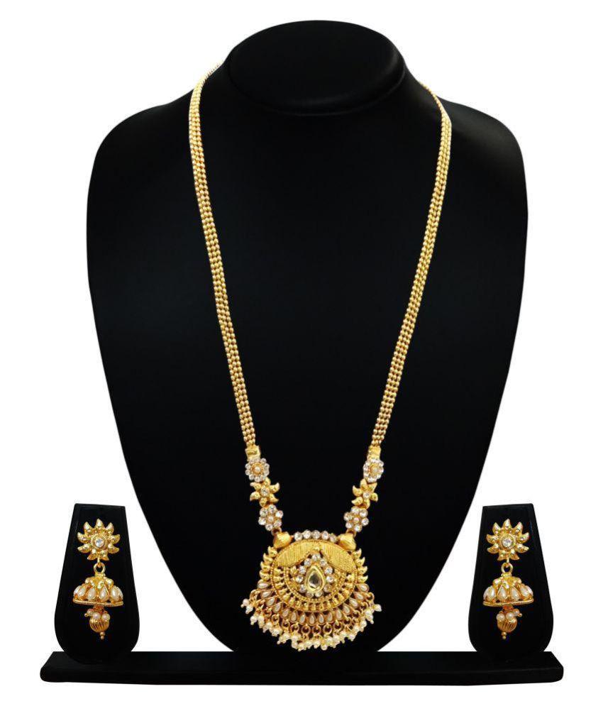 Arts Chetan Golden Copper Necklaces Set