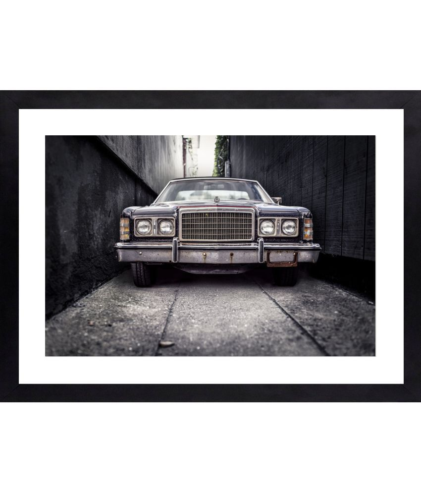 Craftsfest Vintage Car Canvas Painting With Frame Single Piece
