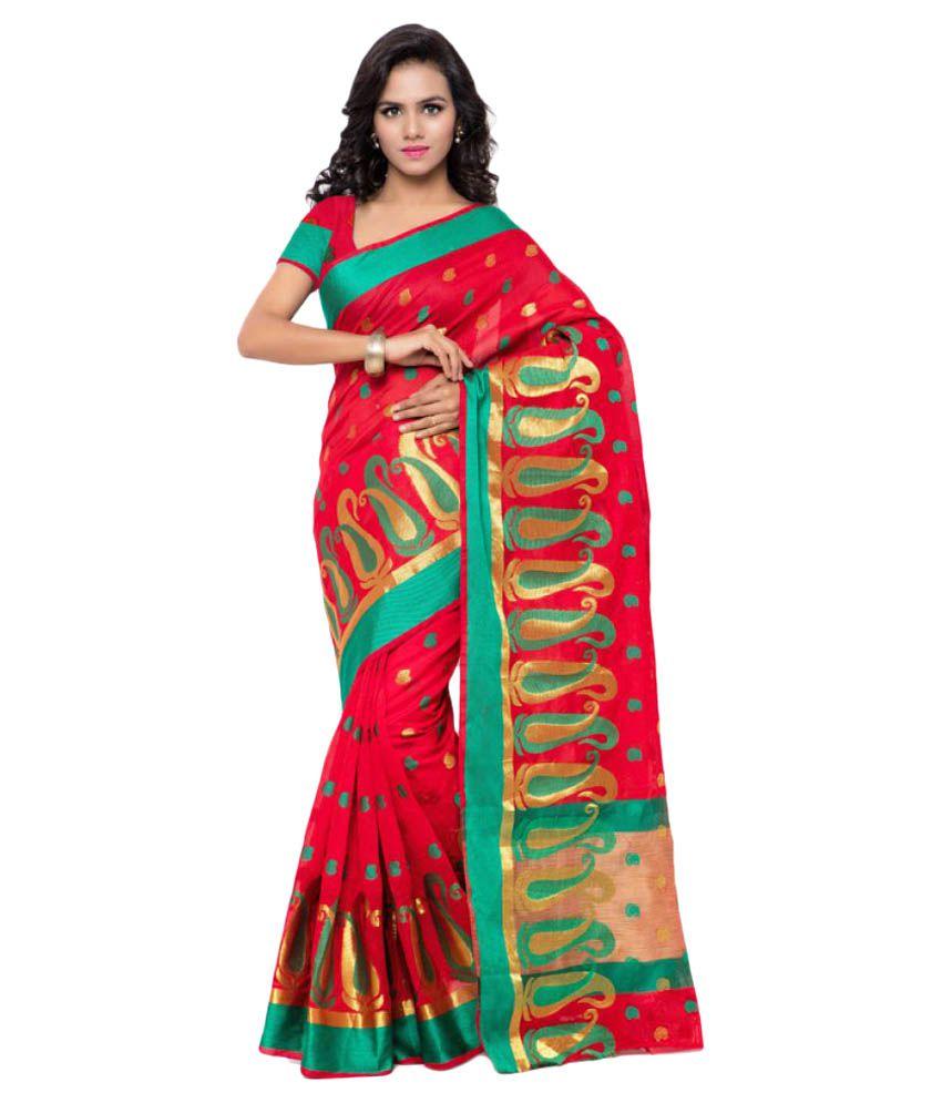 Makewayin Red Banarasi Silk Saree