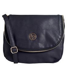 Lino Perros Navy Blue Artificial Leather Sling Bag