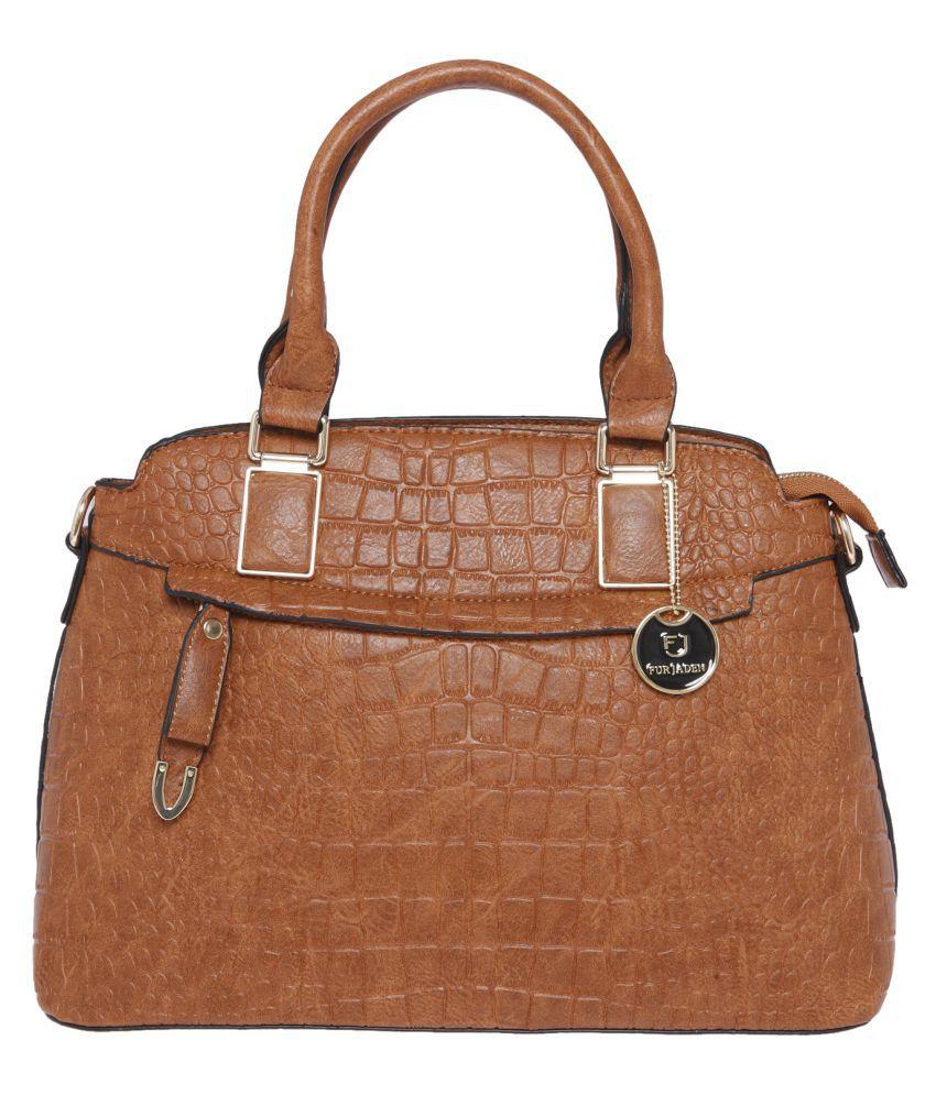 Fur Jaden Tan Faux Leather Shoulder Bag