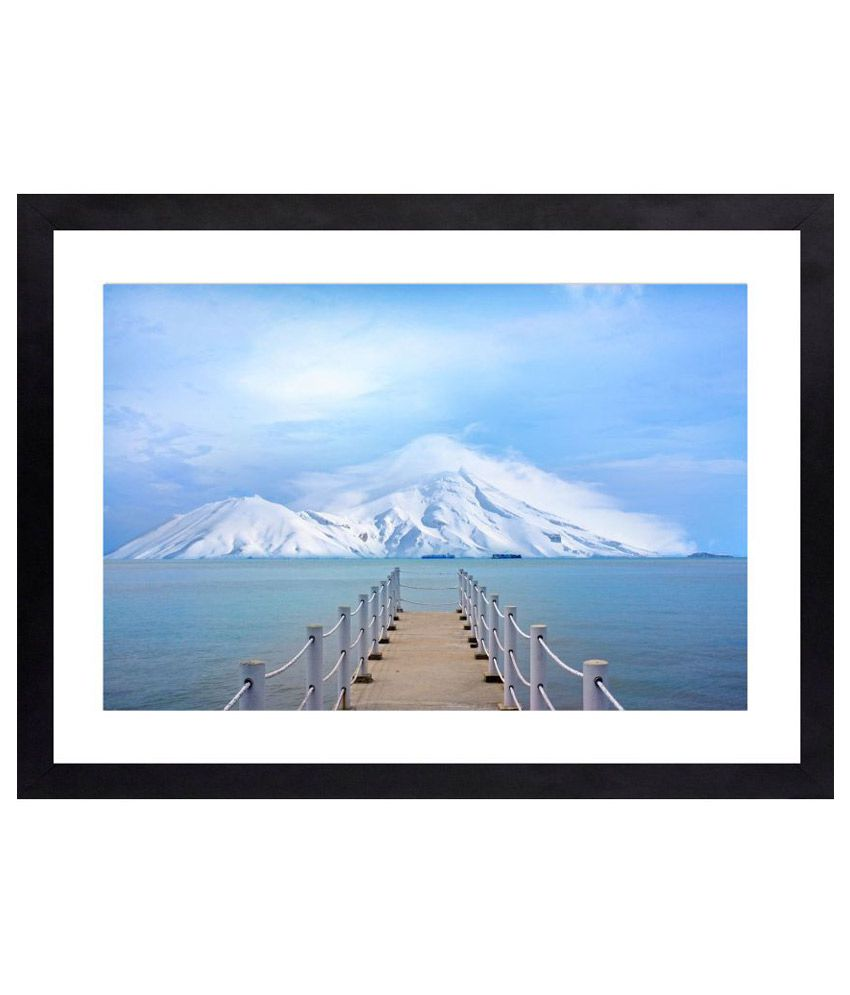 Craftsfest Bridge to sea Canvas Painting With Frame Single Piece
