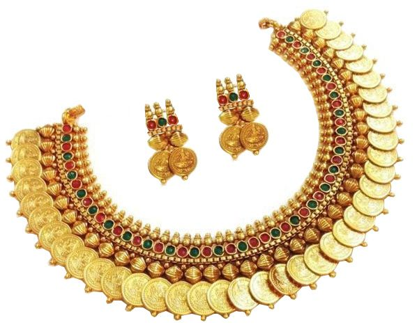 YouBella Red and Green Polki Polki Traditional Temple Laxmi Coin Necklace Set with Earrings