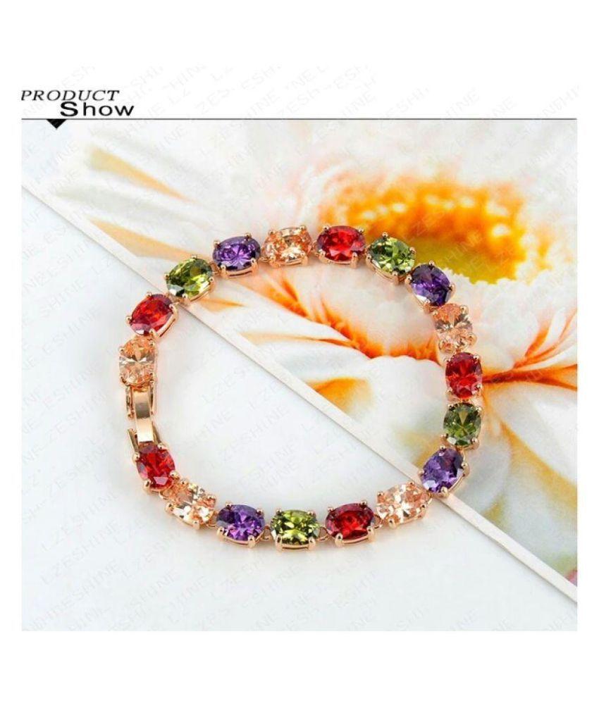 Wearyourfashion Multicolour Swiss Zircon Crystal Rose Gold Plated Bracelet for Women
