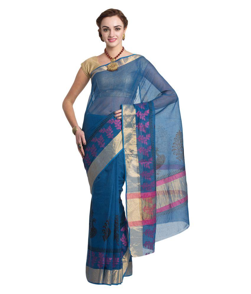 Craftghar Blue Cotton Saree