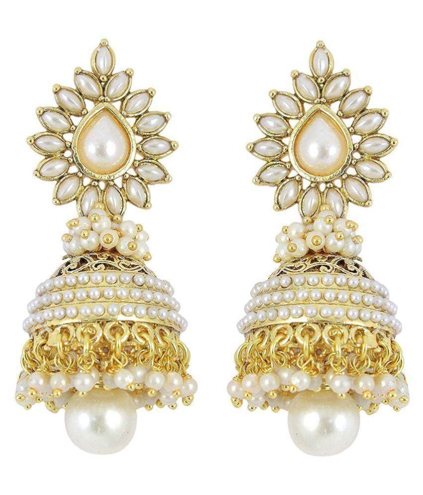 Jewels Gehna White Jhumki Earrings