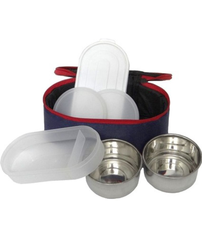 Jmd Homeware JAGDAMBA 3 BLUE WITH RED BUY ONE GET ONE Stainless Steel Lunch Box