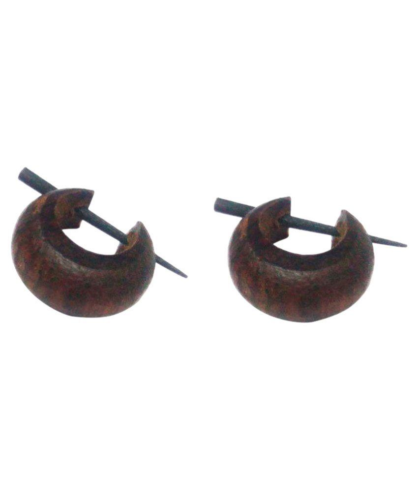 Carrydreams Black Wood Hoop Earring Buy Online At Low Price In