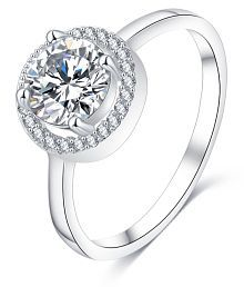 Jewels Galaxy Circular Ring Platinum Plated For Women