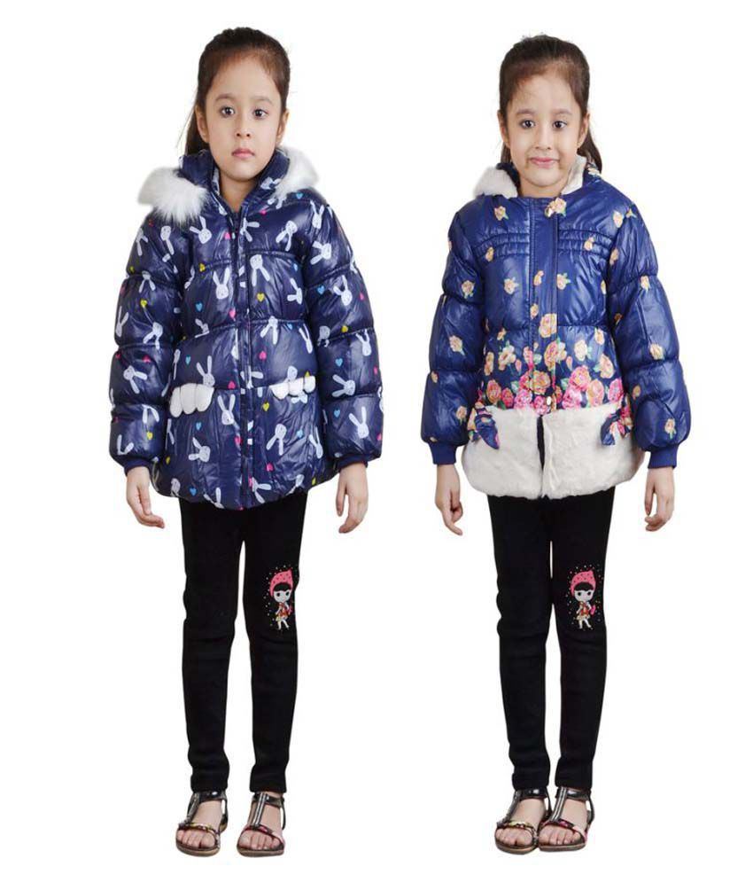 Qeboo Blue Woven Quilted & Bomber for Girls