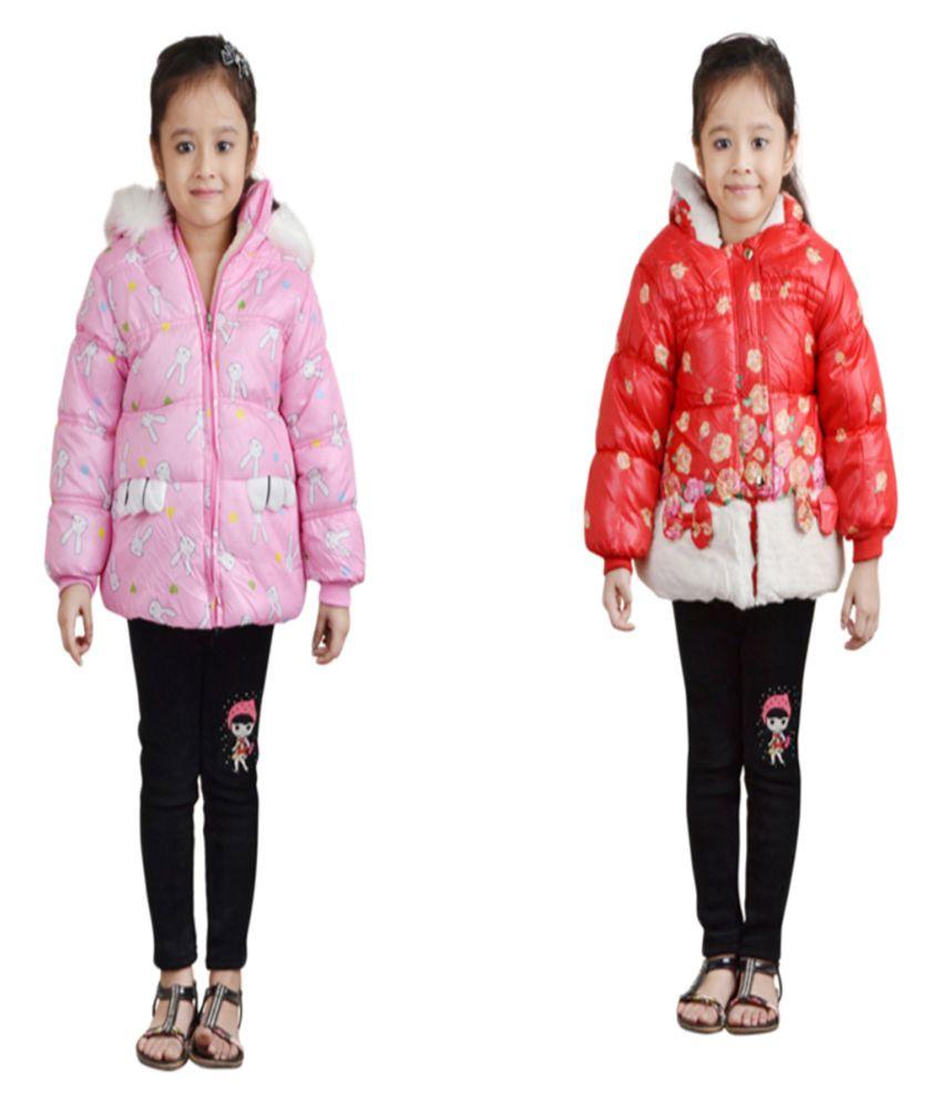 Qeboo Full Sleeves Combo Of 2 Nylon Jackets For Girls