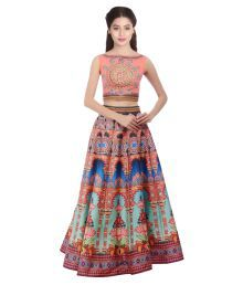 Kmozi Multicoloured Art Silk Circular Semi Stitched Lehenga