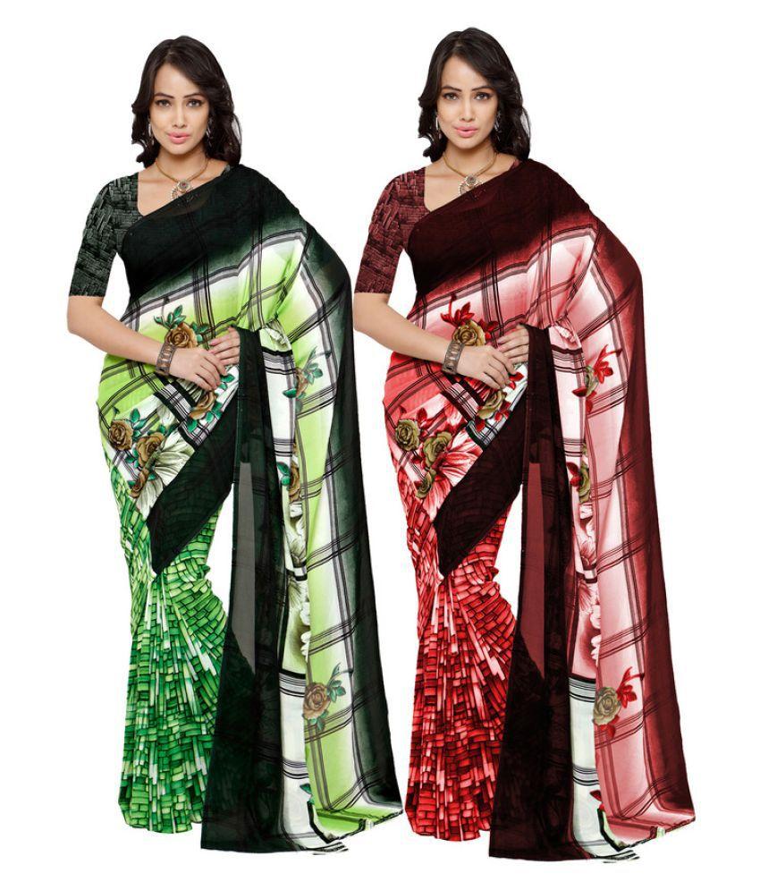Fabdeal Multicoloured Georgette Saree Combos