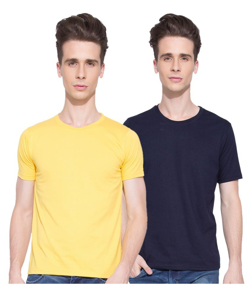 Go India Store Multi Round T-Shirt Pack of 2