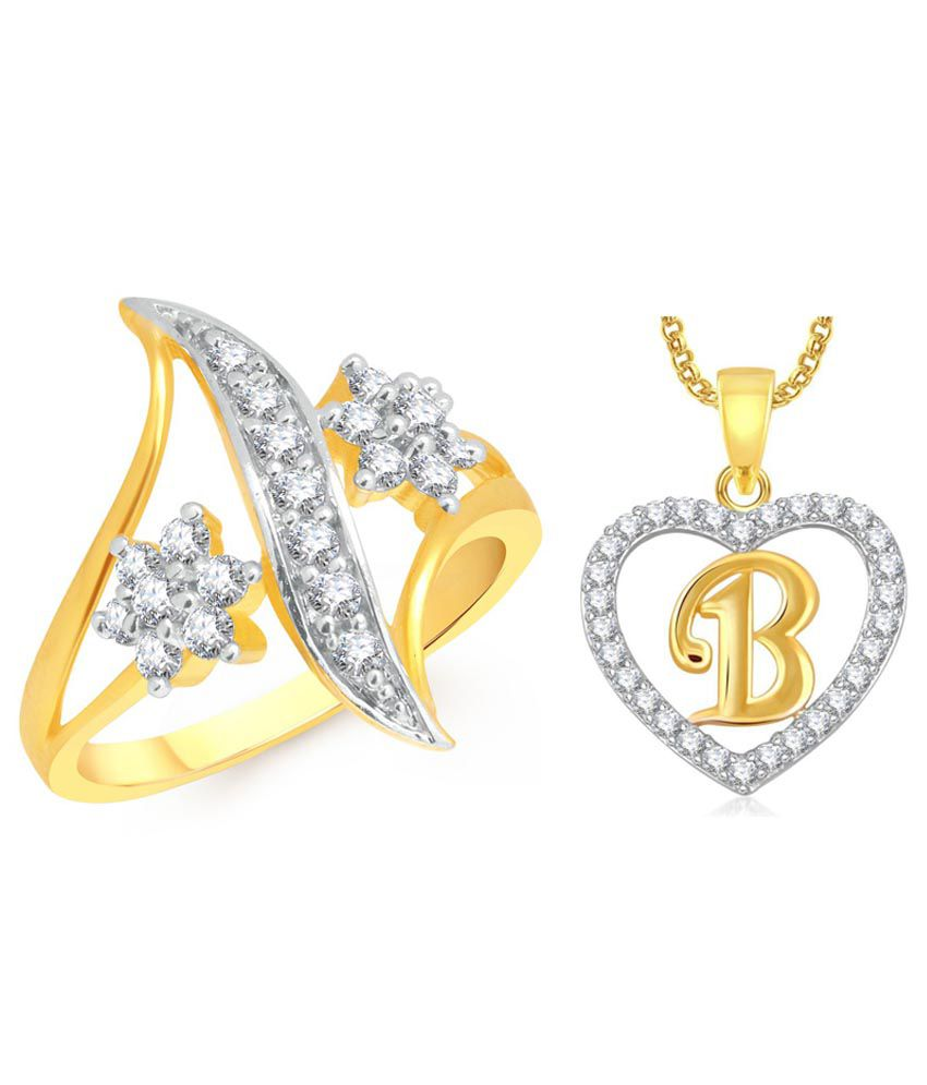 Meenaz Golden Rings with Heart Pendant and Ring Box: Buy Meenaz ...