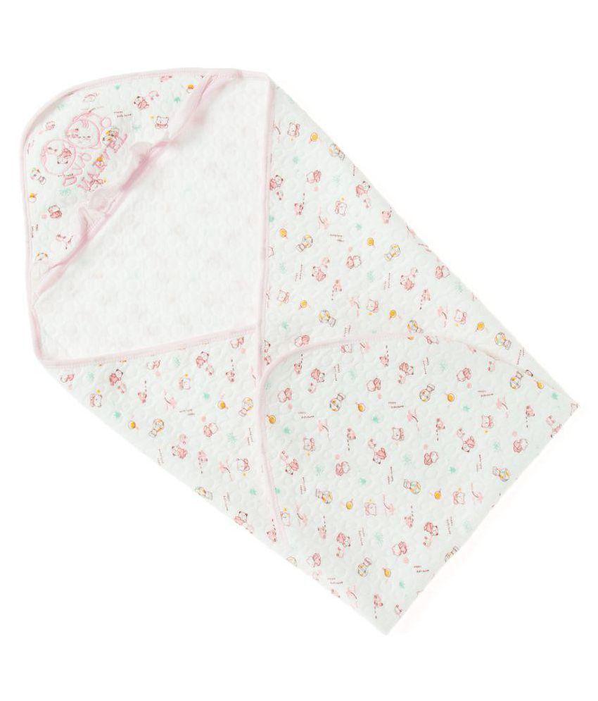 Zonko Style White Cotton Baby Wrap cum blanket ( 90 cm × 90 cm - 1 pcs)