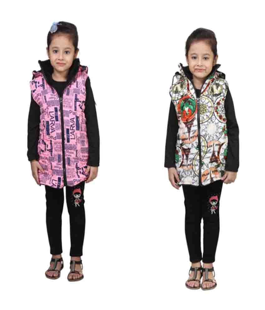 Crazies Multi Nylon Jacket For Girl's Pack Of 2