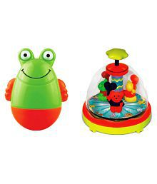 Toyzee Combo Of  Multicolor Roly Poly Musical Frogee And Press N Spin Spinning Teddies Toys