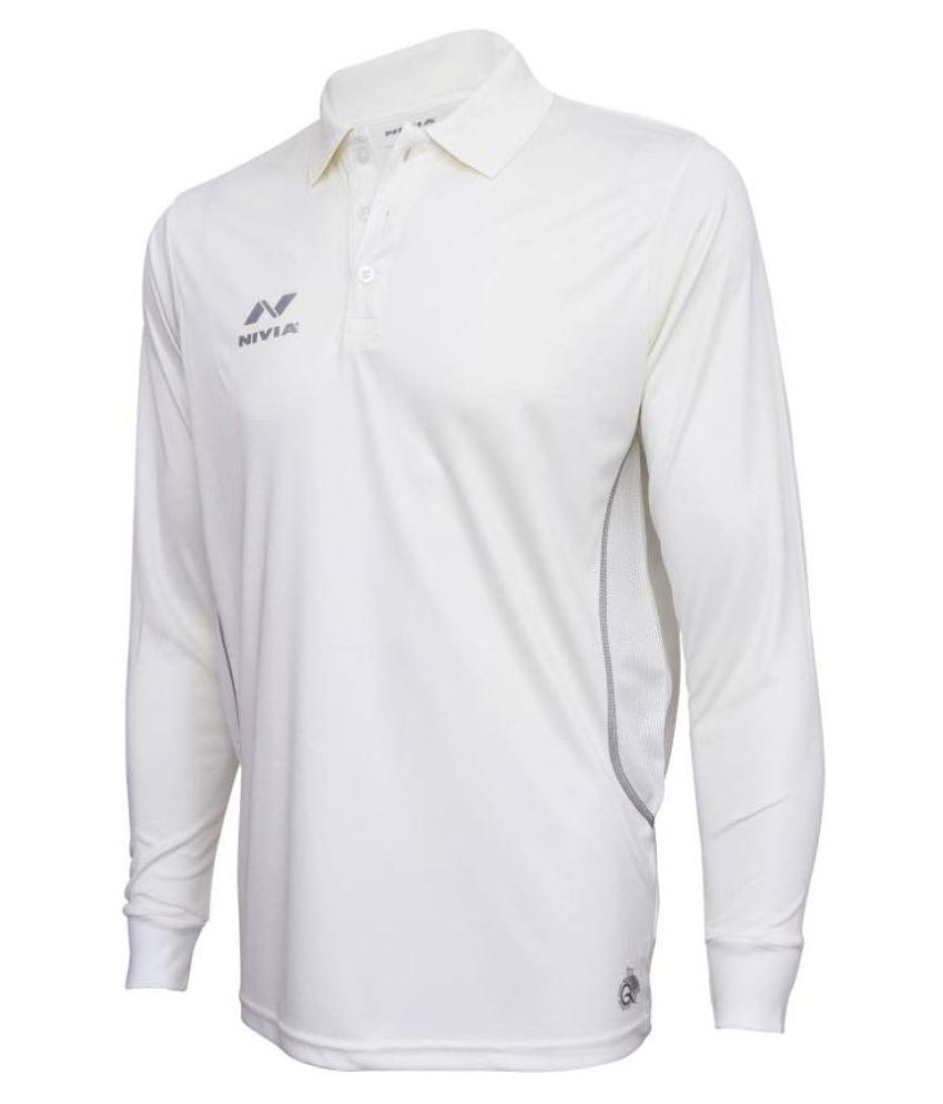 Nivia White Full Sleeves Cricket Jersey