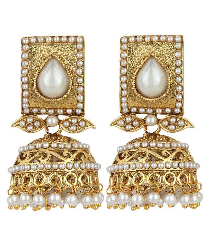 Jewels Guru Exclusive White Golden Earrings