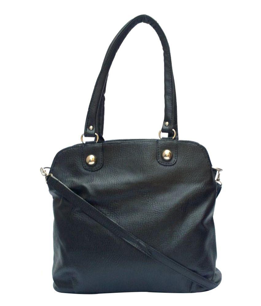 Vintage Black Artificial Leather Shoulder Bag