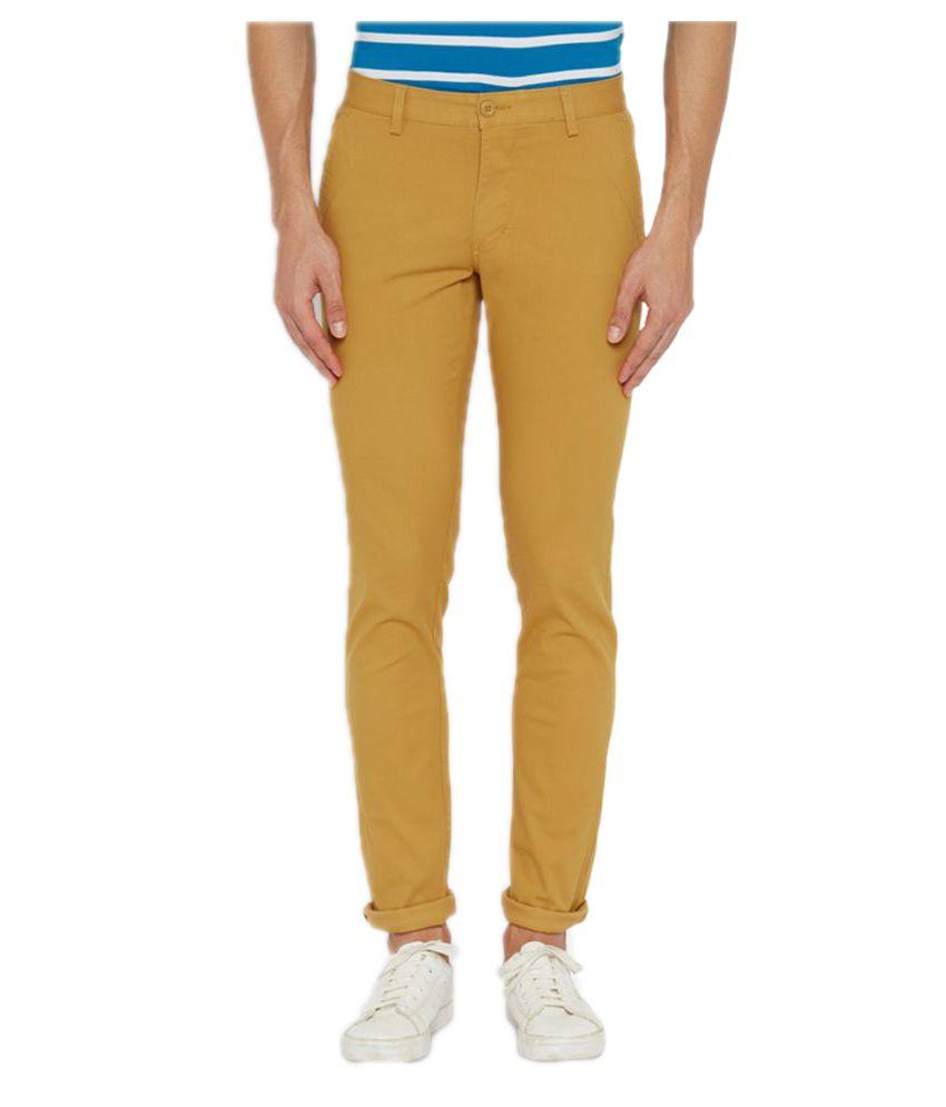 Parx Khaki Regular Flat Trousers