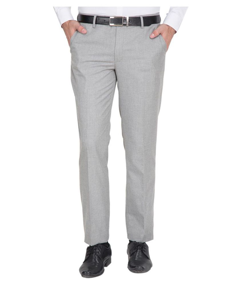 Black Coffee Grey Regular Flat Trousers