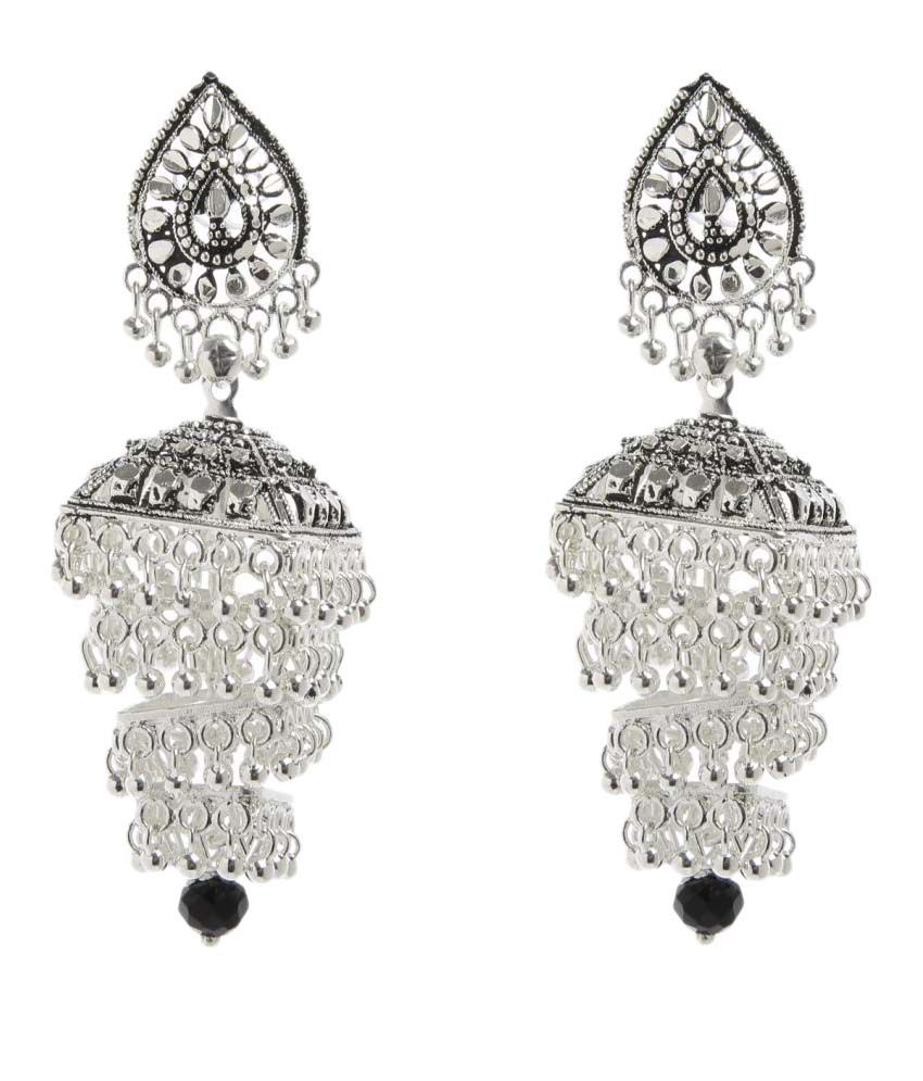 GoldNera Silver Jhumki Earrings