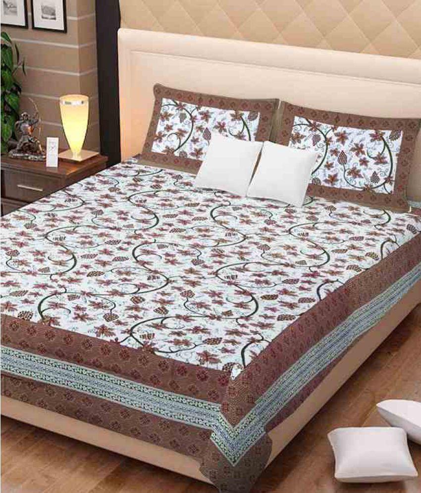 UniqChoice Double Cotton Multicolor Printed Bed Sheet