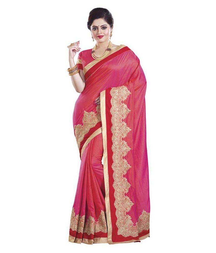 Sati Fashions Pink Silk Blends Saree