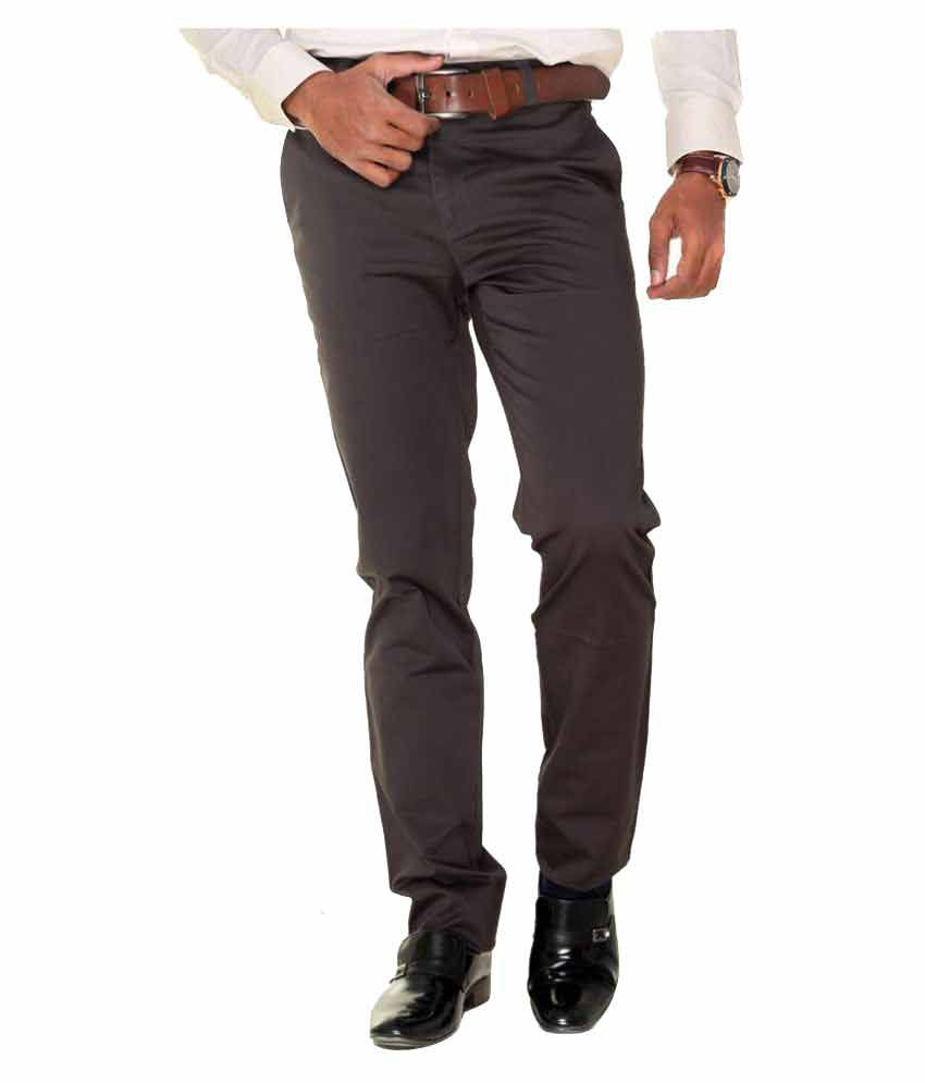 TMG Brown Regular Flat Trousers