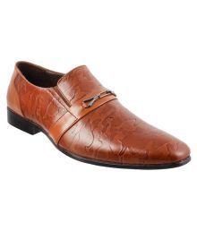 Metro Tan Slip On Genuine Leather Formal Shoes