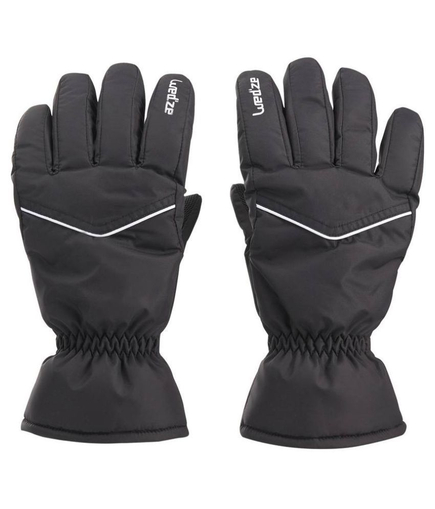 Wedze Black Polyester Gloves