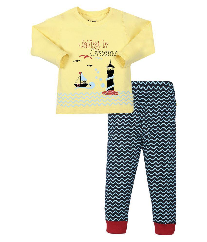 Tiny Bee Multicolour T-Shirt & Pajama Set