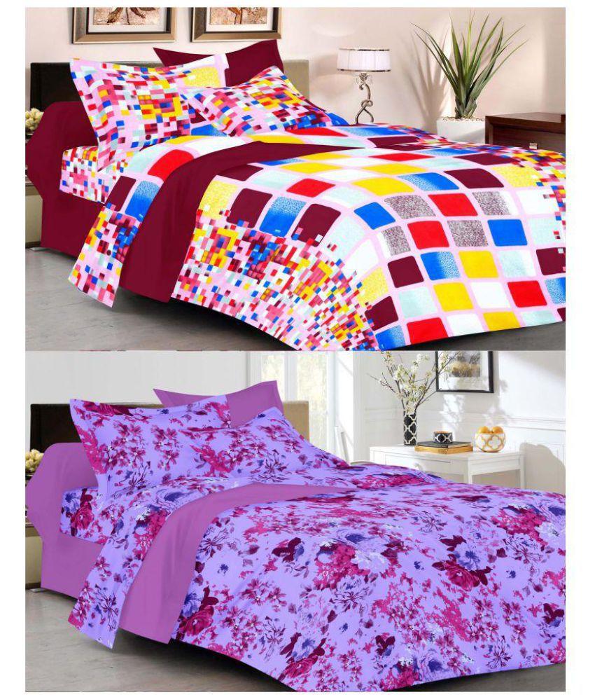 Correa's Double Cotton Multicolor Printed Bed Sheet