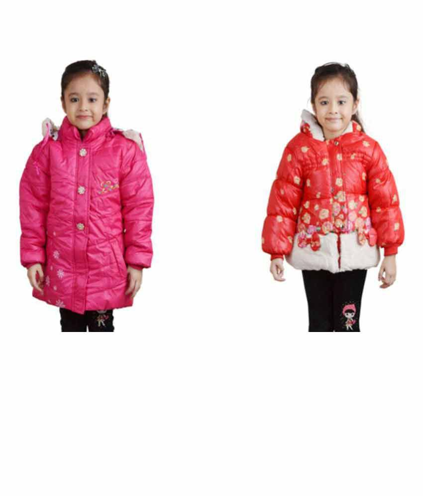 Crazeis Multicolour Woven Quilted & Bomber for Girls