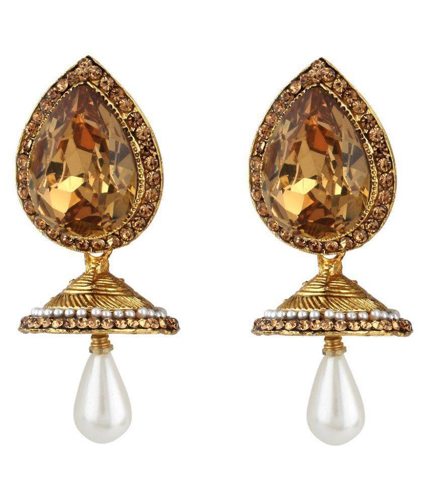 Jewels Guru Golden Drop Earrings