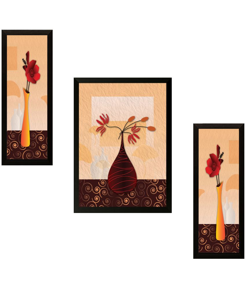 SAF Set of 3 Wood Painting With Frame Set of 3