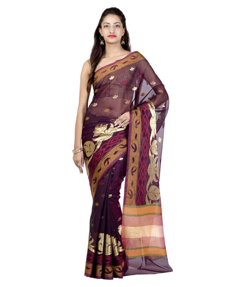 Chandrakala Brown Cotton Silk Saree