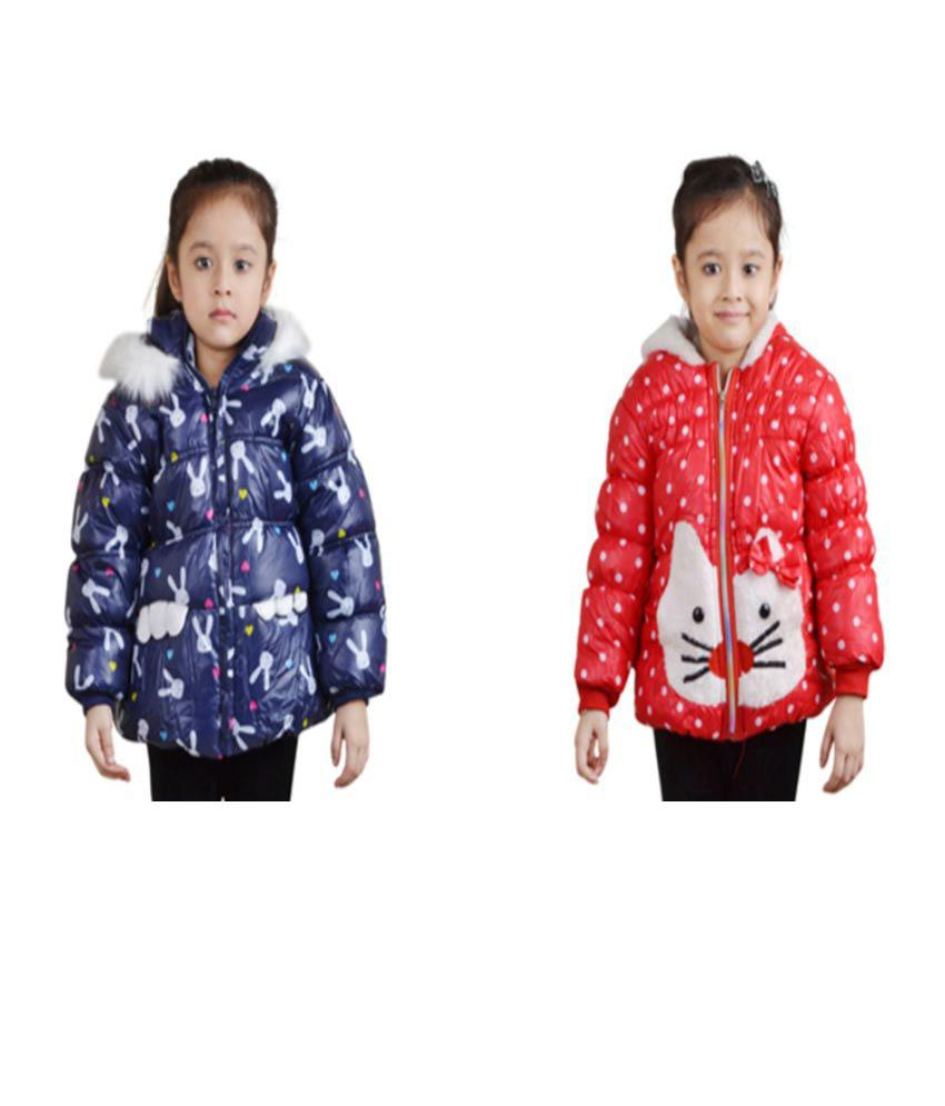 Qeboo Multicolour Nylon Quilted Jacket - Pack of 2
