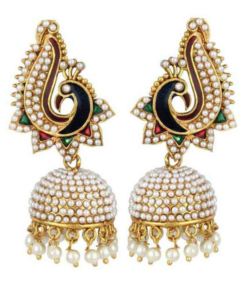 Jewels Gold Pearl Gold Plated Jhumkis