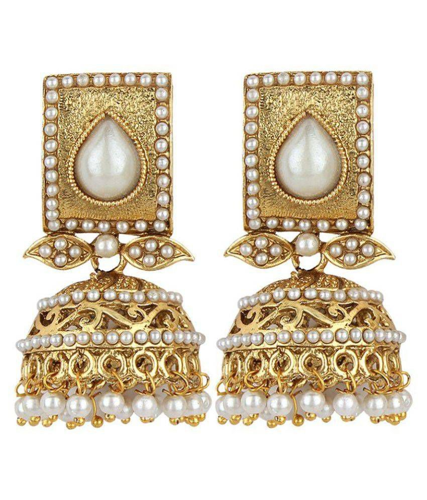 Jewels Guru Golden Alloy Jhumki Earrings