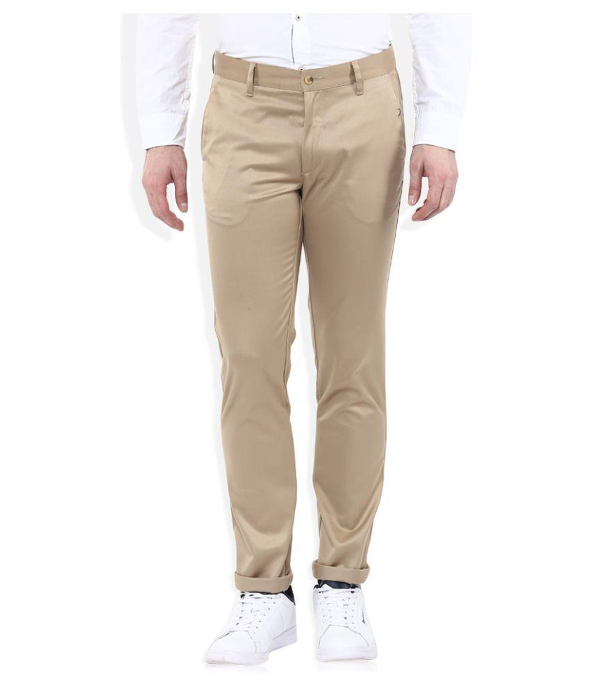 John Players Beige Slim Flat Trousers