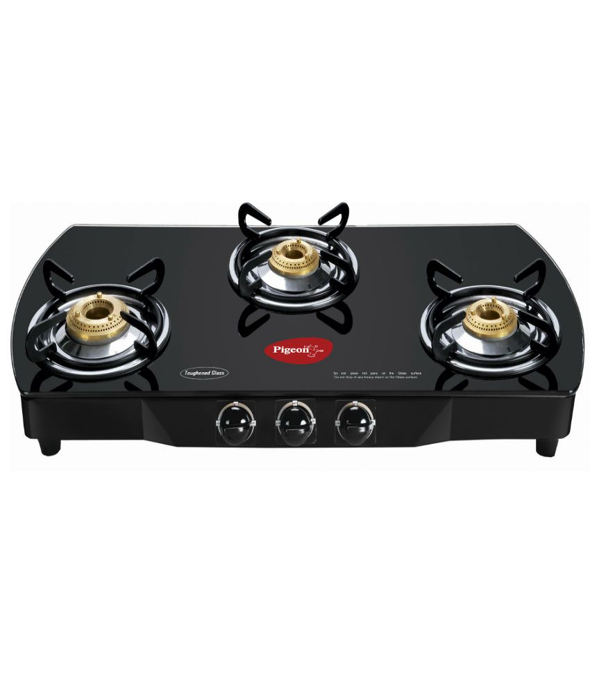Flat Top Stove Prices Pigeon Brass Black 3 Burner Glass Top Price In India Buy Pigeon
