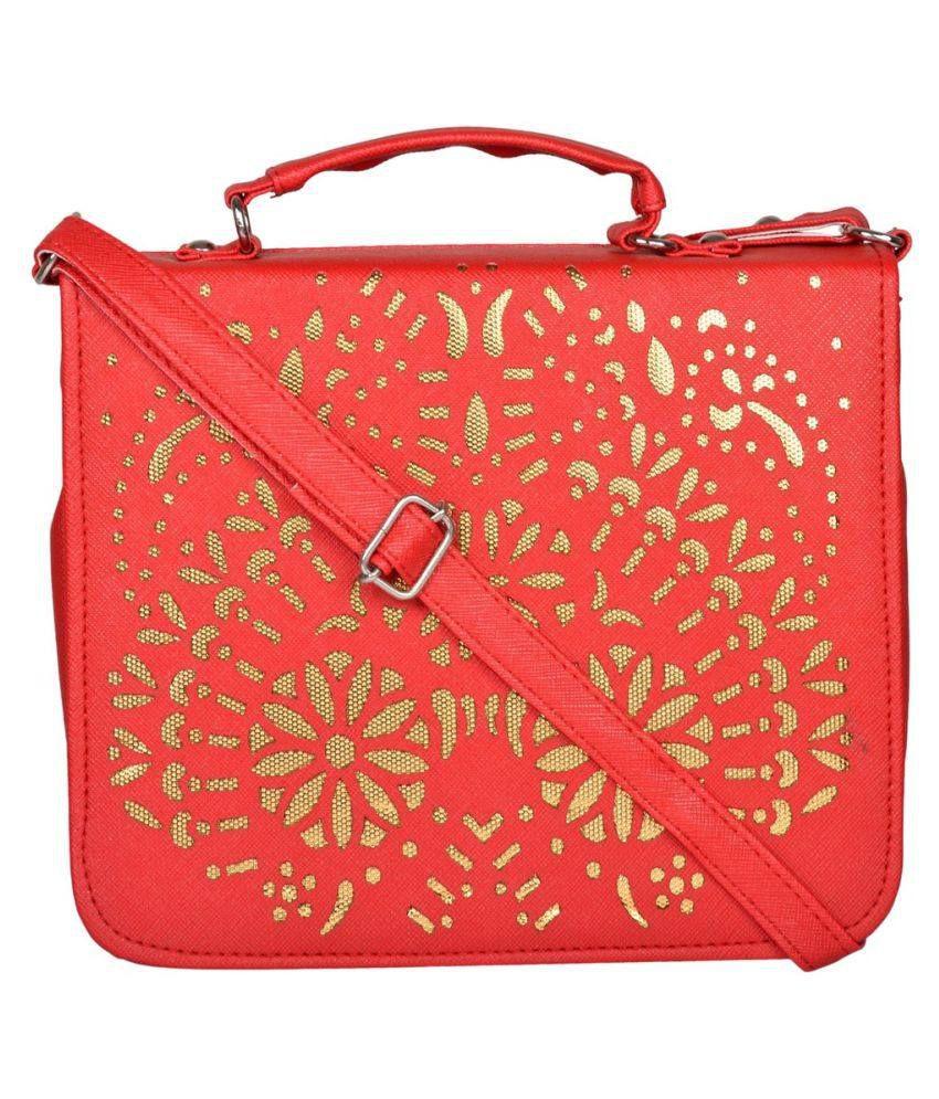 Cuddle Red P.U. Sling Bag