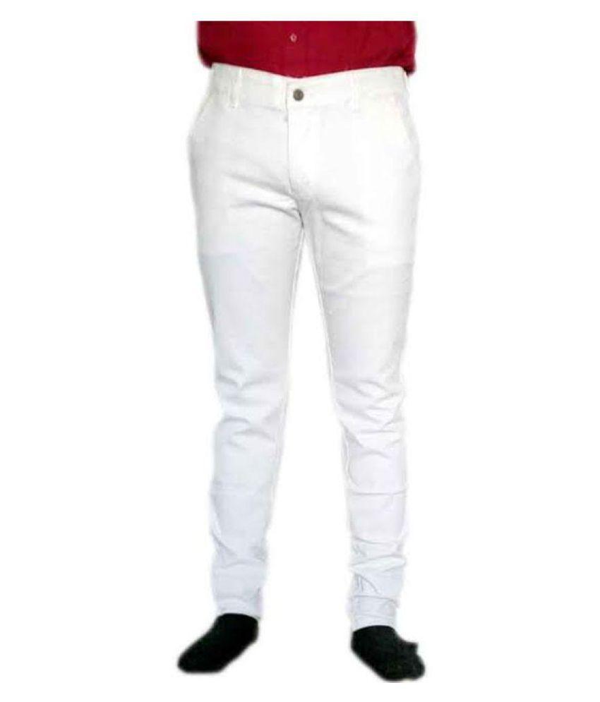 Just Trousers White Regular Flat Chinos