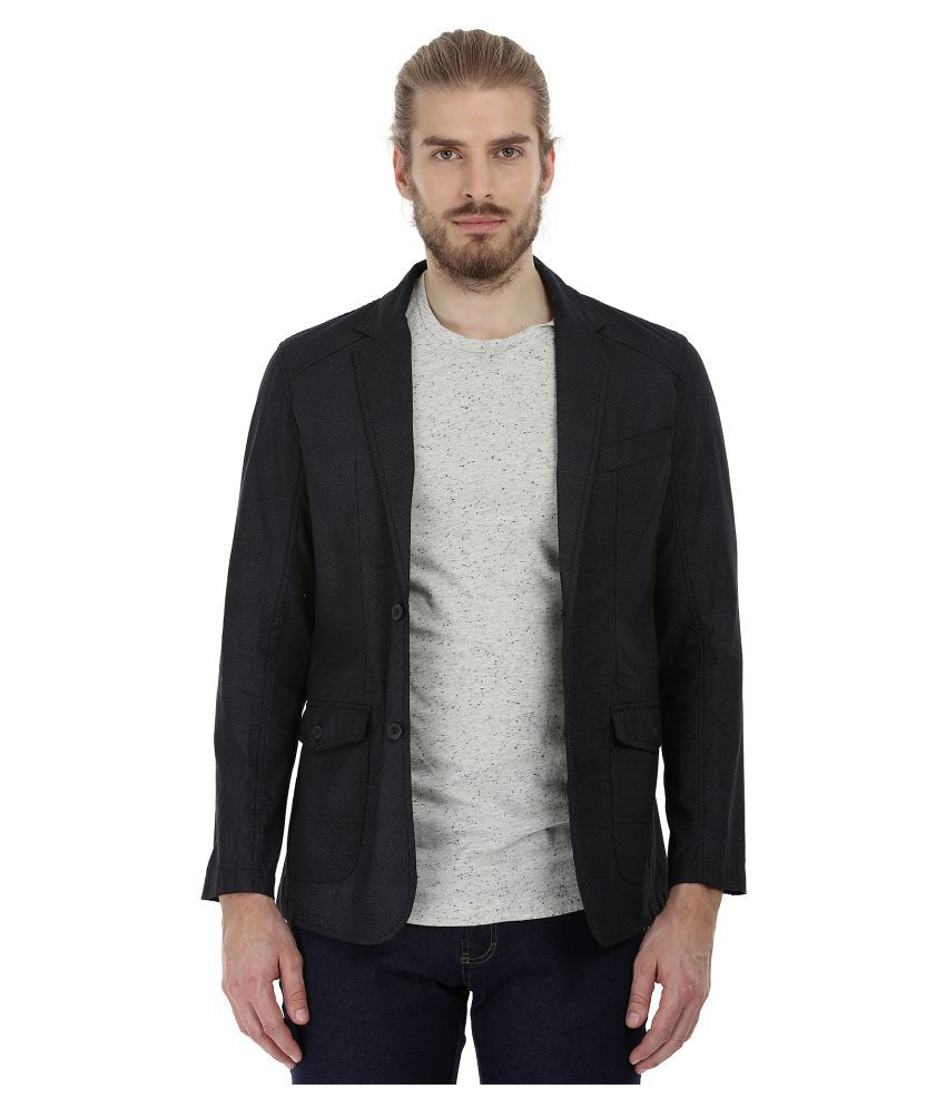 Zobello Black Plain Casual Blazers