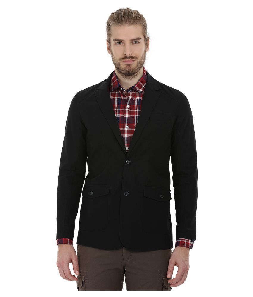 Zobello Black Solid Casual Blazers