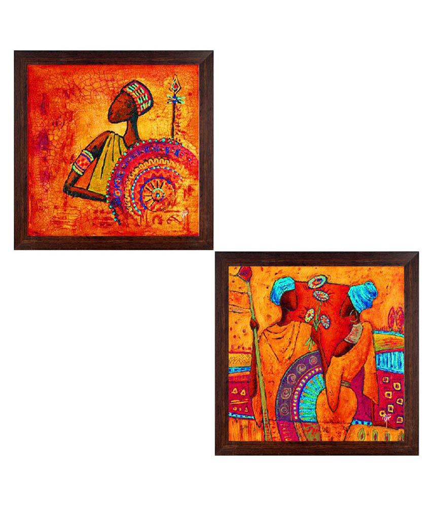 Ray Decor Folk Art Paintings Paper Painting With Frame Set of 2